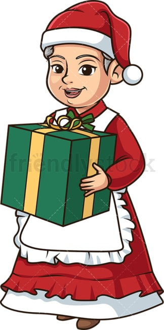 Mrs santa claus holding a present. PNG - JPG and vector EPS (infinitely scalable).