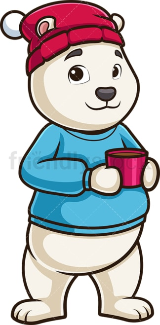 Polar bear drinking hot coffee. PNG - JPG and vector EPS (infinitely scalable).
