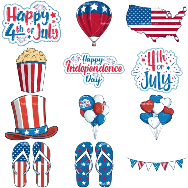 4th of july. PNG - JPG and vector EPS file formats (infinitely scalable). Images isolated on transparent background.