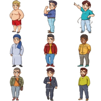 Confident fat men. PNG - JPG and infinitely scalable vector EPS - on white or transparent background.
