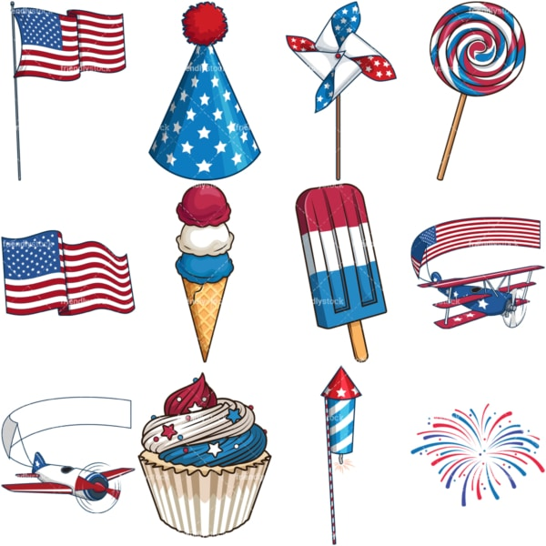 Fourth of july. PNG - JPG and vector EPS file formats (infinitely scalable). Images isolated on transparent background.