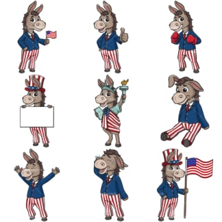 US democratic party donkey. PNG - JPG and infinitely scalable vector EPS - on white or transparent background.