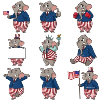 US republican party elephant. PNG - JPG and infinitely scalable vector EPS - on white or transparent background.