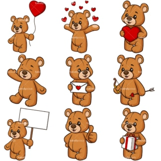 Valentines day teddy bear. PNG - JPG and infinitely scalable vector EPS - on white or transparent background.