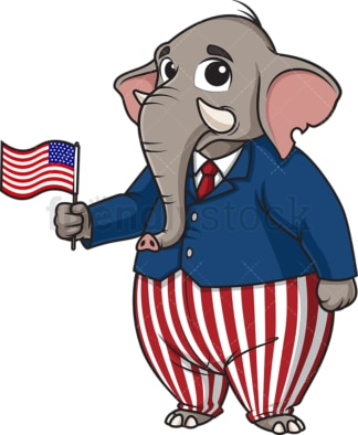 Republican elephant holding us flag. PNG - JPG and vector EPS (infinitely scalable).