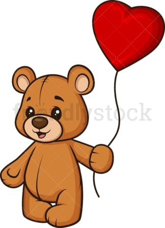 Teddy bear with heart balloon. PNG - JPG and vector EPS (infinitely scalable).