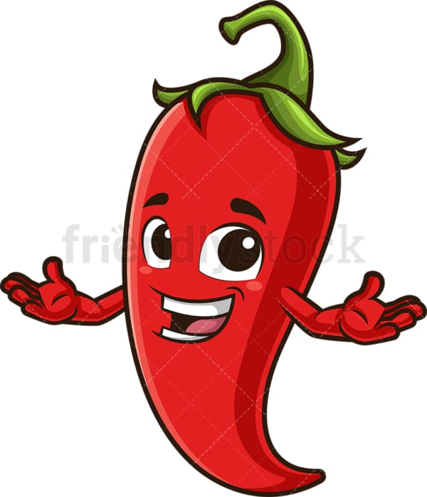 Welcoming red chili pepper. PNG - JPG and vector EPS (infinitely scalable).