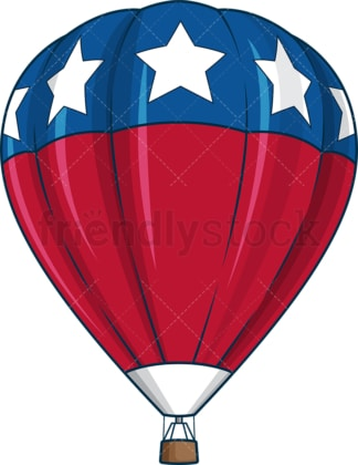 Patriotic hot air balloon. PNG - JPG and vector EPS file formats (infinitely scalable). Image isolated on transparent background.