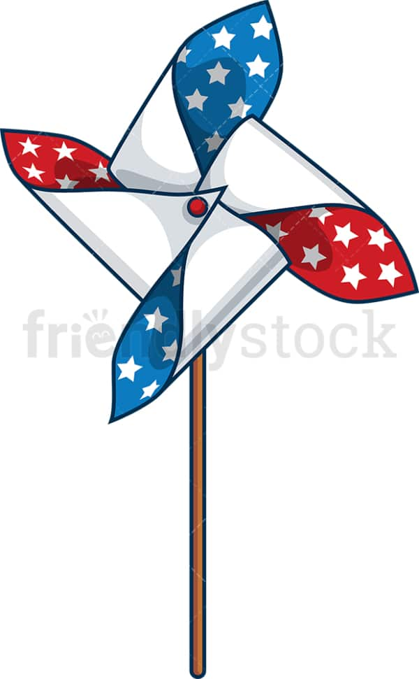 Patriotic pinwheel toy. PNG - JPG and vector EPS file formats (infinitely scalable). Image isolated on transparent background.