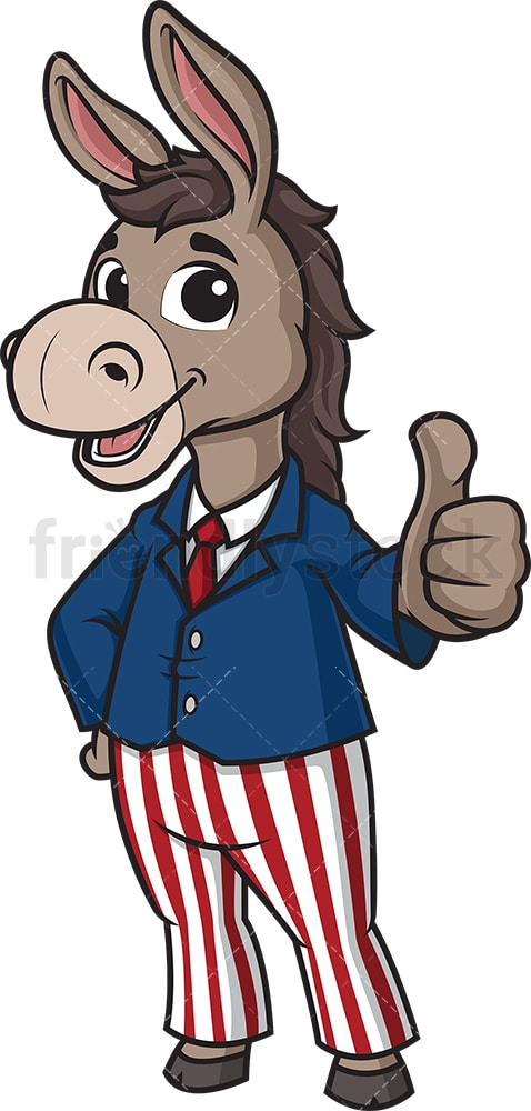Democratic donkey thumbs up. PNG - JPG and vector EPS (infinitely scalable).