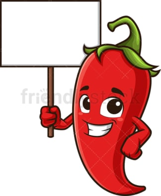 Red chili pepper holding blank sign. PNG - JPG and vector EPS (infinitely scalable).