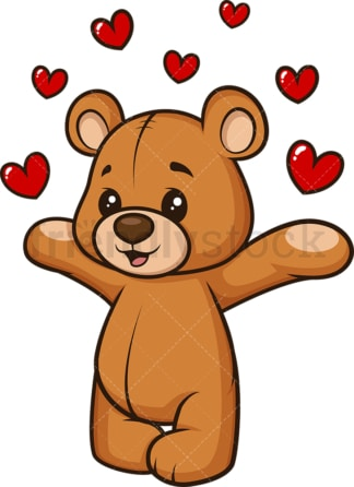 Teddy bear sending love. PNG - JPG and vector EPS (infinitely scalable).