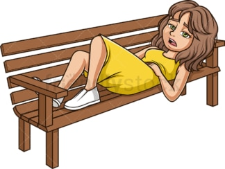 Tired woman lying on bench. PNG - JPG and vector EPS (infinitely scalable).