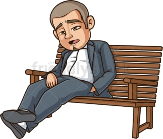 Worn out hispanic man sitting on bench. PNG - JPG and vector EPS (infinitely scalable).