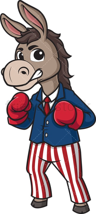 Democratic donkey wearing boxing gloves. PNG - JPG and vector EPS (infinitely scalable).
