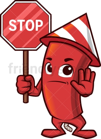 Firework holding stop sign. PNG - JPG and vector EPS (infinitely scalable).