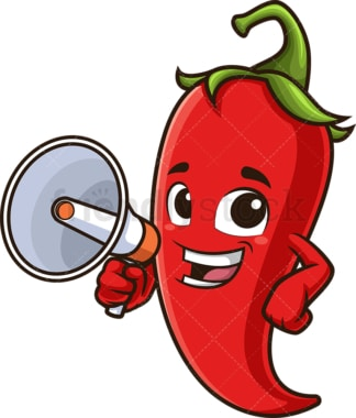 Red chili pepper with megaphone. PNG - JPG and vector EPS (infinitely scalable).