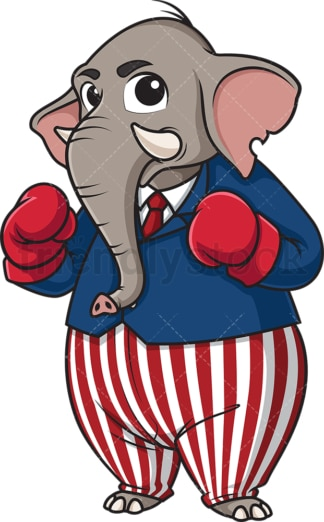 Republican elephant wearing boxing gloves. PNG - JPG and vector EPS (infinitely scalable).