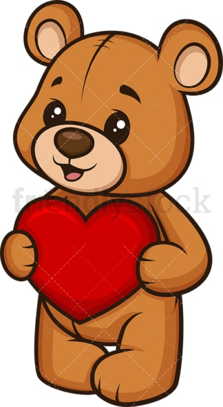 Teddy bear holding heart. PNG - JPG and vector EPS (infinitely scalable).