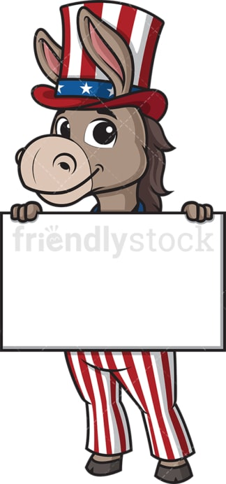 Democratic donkey holding blank sign. PNG - JPG and vector EPS (infinitely scalable).