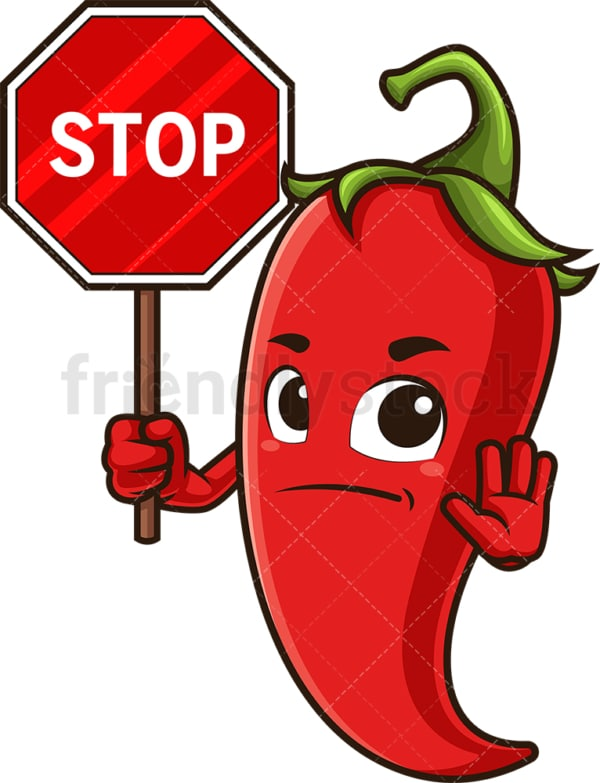 Red chili pepper holding stop sign. PNG - JPG and vector EPS (infinitely scalable).