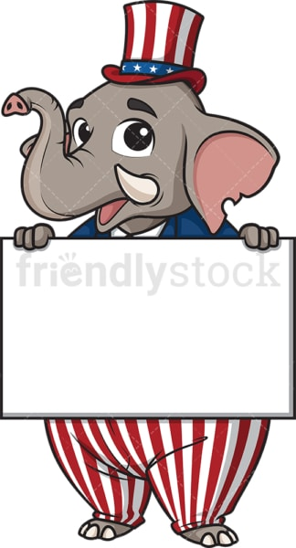 Republican elephant holding blank sign. PNG - JPG and vector EPS (infinitely scalable).