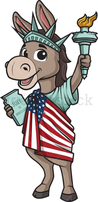 Democratic donkey statue of liberty. PNG - JPG and vector EPS (infinitely scalable).
