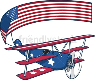 Flying triplane carrying us flag. PNG - JPG and vector EPS file formats (infinitely scalable). Image isolated on transparent background.