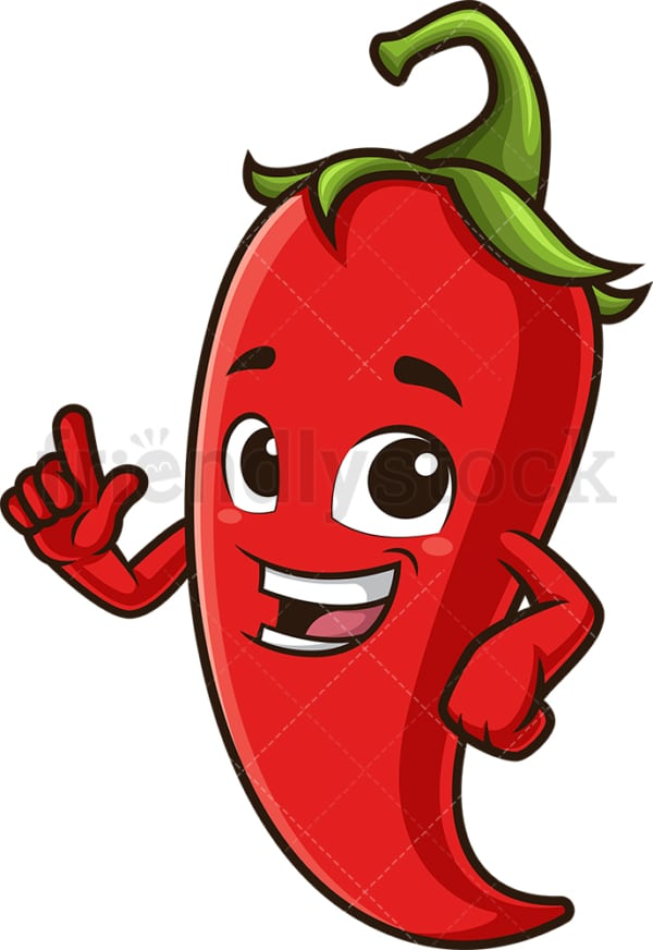 Red chili pepper pointing up. PNG - JPG and vector EPS (infinitely scalable).