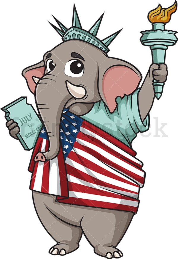 Republican elephant statue of liberty. PNG - JPG and vector EPS (infinitely scalable).