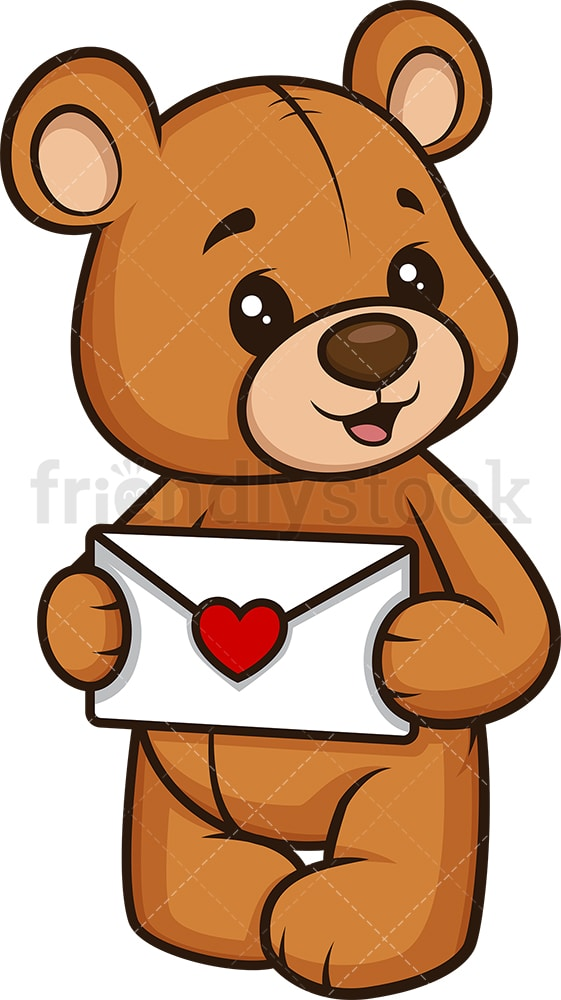 Teddy bear holding love letter. PNG - JPG and vector EPS (infinitely scalable).