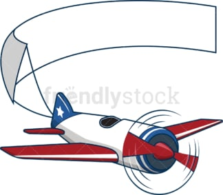 American plane carrying blank banner. PNG - JPG and vector EPS file formats (infinitely scalable). Image isolated on transparent background.