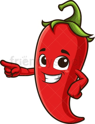 Red chili pepper pointing side. PNG - JPG and vector EPS (infinitely scalable).