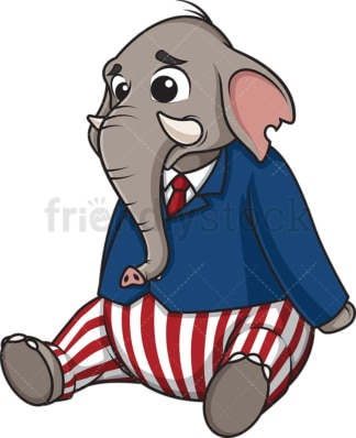Sad republican elephant. PNG - JPG and vector EPS (infinitely scalable).