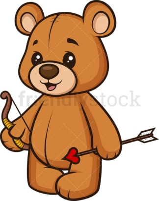 Teddy bear bow and arrow like cupid. PNG - JPG and vector EPS (infinitely scalable).