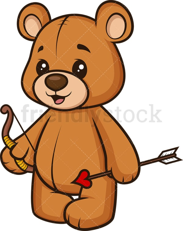 Teddy bear bow and arrow like cupid. PNG - JPG and vector EPS (infinitely scalable).