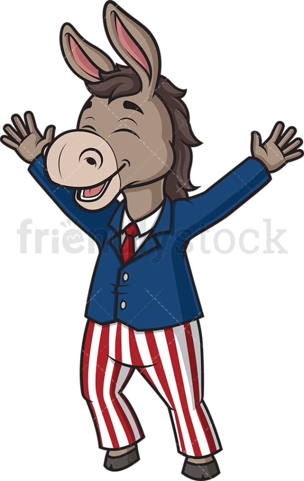 Happy democrat donkey. PNG - JPG and vector EPS (infinitely scalable).