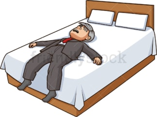 Old man lying exhausted in bed. PNG - JPG and vector EPS (infinitely scalable).