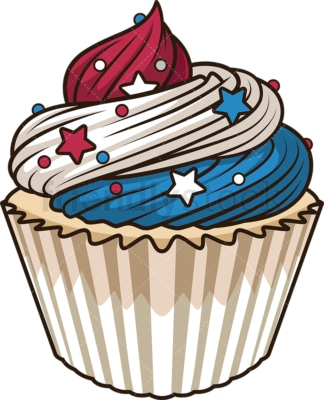 Patriotic cupcake. PNG - JPG and vector EPS file formats (infinitely scalable). Image isolated on transparent background.