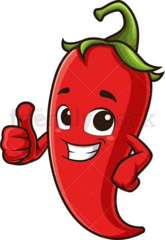 Red chili pepper thumbs up. PNG - JPG and vector EPS (infinitely scalable).