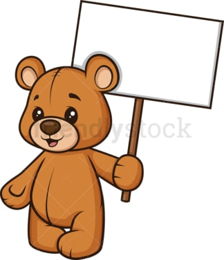 Teddy bear holding blank sign. PNG - JPG and vector EPS (infinitely scalable).