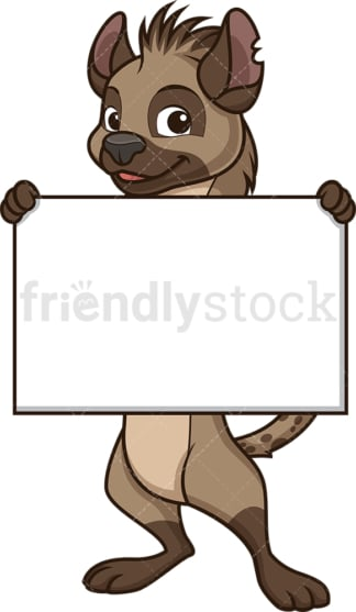 Hyena holding blank sign. PNG - JPG and vector EPS (infinitely scalable).