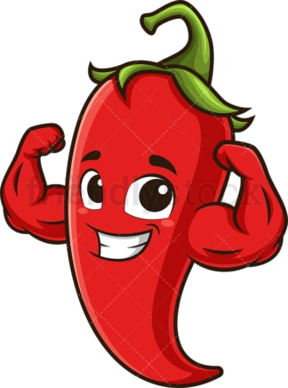 Red chili pepper flexing muscles. PNG - JPG and vector EPS (infinitely scalable).