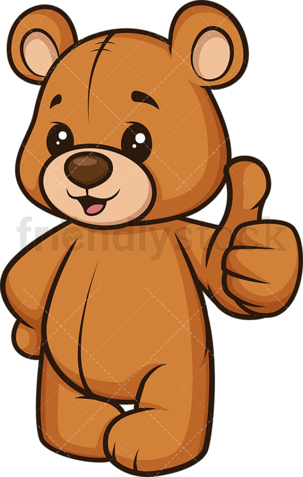 Teddy bear thumbs up. PNG - JPG and vector EPS (infinitely scalable).