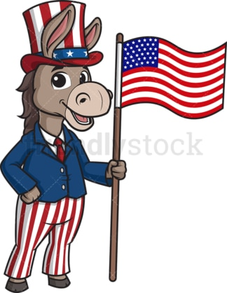 Democratic donkey holding american flag. PNG - JPG and vector EPS (infinitely scalable).