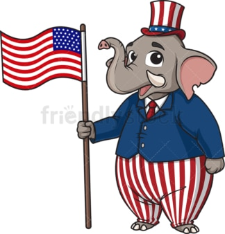 Republican elephant holding american flag. PNG - JPG and vector EPS (infinitely scalable).