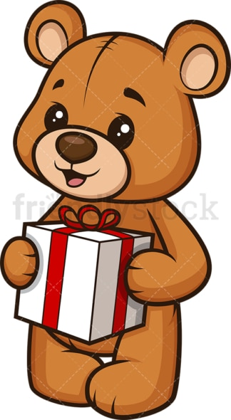 Teddy bear holding present. PNG - JPG and vector EPS (infinitely scalable).