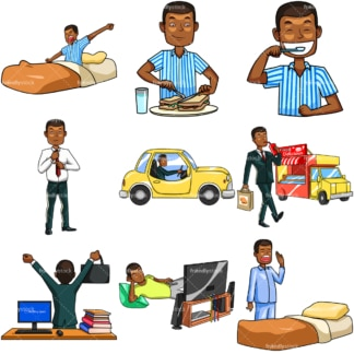 Black man daily routine. PNG - JPG and vector EPS file formats (infinitely scalable). Images isolated on transparent background.