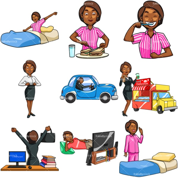 Black woman daily routine. PNG - JPG and vector EPS file formats (infinitely scalable). Images isolated on transparent background.