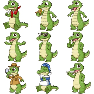 Cartoon alligator character. PNG - JPG and infinitely scalable vector EPS - on white or transparent background.